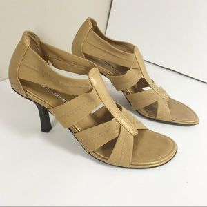 Donald Pliner gold kitten heel shoes